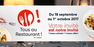 Tous au Restaurant ! à Montpellier du 18 septembre au 1er octobre 2017 vous permet de bénéficier d'un menu offert pour tout menu acheté chez les restaurants partenaires.(® CCI Hérault)