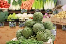 Chez Fabien Montpellier présente son étal de légumes frais dans le quartier des Beaux Arts au centre-ville (® Networld-fabrice chort)