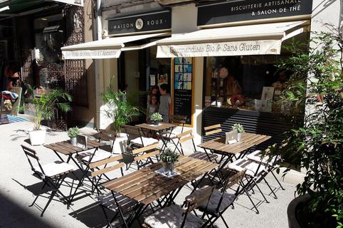 Maison Roux Montpellier Macarons bio artisanaux en centre-ville sans gluten sans lactose avec terrasse