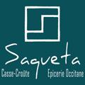 Saqueta Montpellier épicerie fine avec des produits du terroir et un restaurant qui propose des casse-croûtes à déguster sur place ou à emporter comme des salades, des jus et des sandwiches.