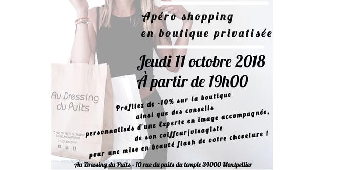 Au Dressing du Puits Montpellier annonce un Apéro Shopping le jeudi 11 octobre dès 19h en présence d'un personal shopper et d'un coiffeur visagiste. A noter dans vos agendas !