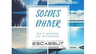 Escassut Montpellier annonce les soldes dans son magasin de mode Homme en centre-ville.(® facebook escassut)