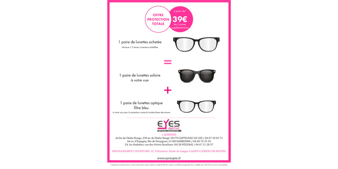 519768ecada7a0 Eyes Optic Castelnau Opticien discounter annonce l Offre Protection Totale  qui vous permet d