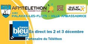 France Bleu Hérault est partenaire du Téléthon les 2 et 3 décembre à Palavas les Flots pour promouvoir les nombreux défis dans la ville ambassadrice 2016.(® france bleu hérault)