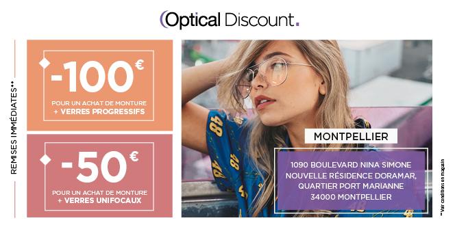 Optical Discount Montpellier annonce des Promos jusqu'à -50% du 4 au 31 mars *( ® optical discount)